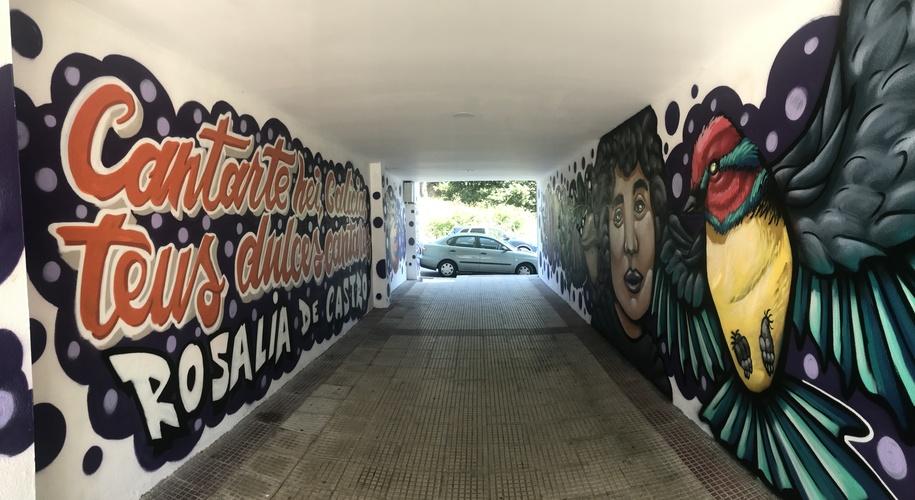 Arte urbano en Nigrán. Dani Seek. Rosalía De Castro